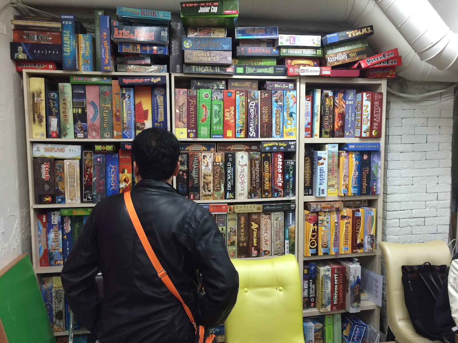 Poy checking out boardgames
